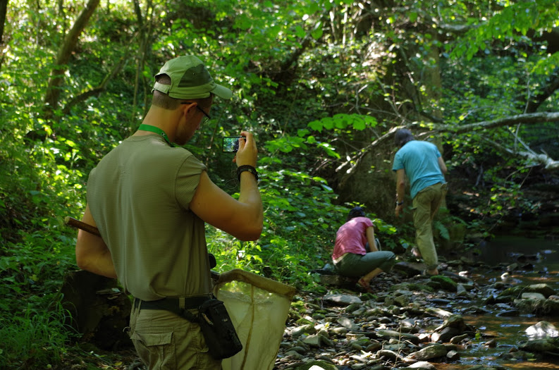 Ľuboš is documenting the Ukrainian colleagues work of Marina and Roman who were chasing ground beetles.